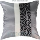 SILVER & CREAM Silk Throw Cushion Covers with 2 Tone Spiral Middle Stripe Design