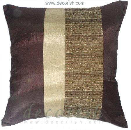 Silk Throw Decorative BROWN & IVORY PILLOW CASES - Triple Stripe