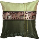 Silk Throw Pillow Cases- Large Thai Elephant GREEN
