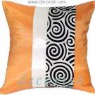 ORANGE & BLACK Silk Decorative Pillow Covers with 2 Tone Spiral Middle Stripe Design