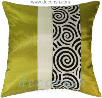 LIME Silk Throw Decorative Pillow Cases with 2 Tone Spiral Middle Stripe Design