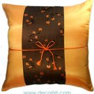 ORANGE Silk Decorative Pillow Covers with Floral Midle Stripe