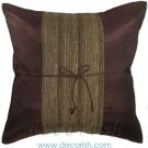 BROWN Silk Throw Pillow Cover with Brown Middle Stripe Design