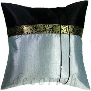 Silk Throw Pillow Covers - BLACK / SILVER Thai Elephants Design