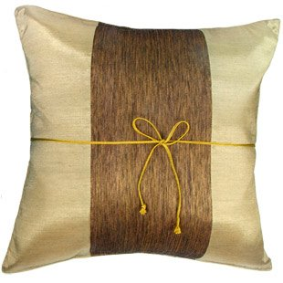 LIGHT GOLD Silk Decorative Pillow Case with Middle Stripe Design