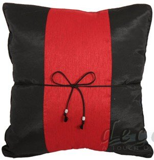 BLACK Silk PILLOW CASE with RED Middle Stripe Design