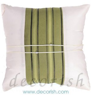 Silk Throw Pillow Covers - CREAM with GREEN Middle Stripe