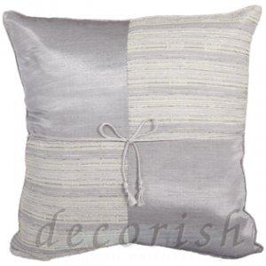SILVER Silk Throw Pillow Cases - Checker Design