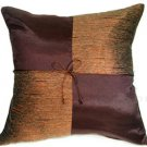 BROWN Silk Throw Decorative Pillow Covers - Checkered Design