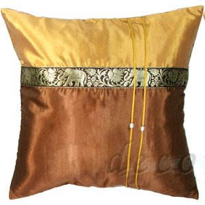 Silk Decorative Pillow Cases - GOLD & BROWN Elephants stripe
