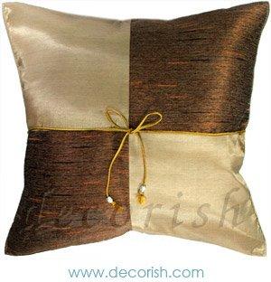 VEGAS GOLD Silk Throw Decorative Pillow Covers - Checkered Design