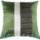 Silk Decorative PILLOW CASES - GREEN & CREAM Triple Stripe