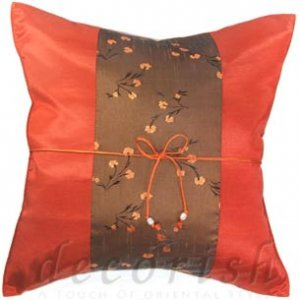 Silk Decorative Pillow Covers - Burn Orange with Gray Floral Middle Stripe