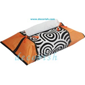 ORANGE Silk Kleenex Tissue box Cover with Black&White Spiral