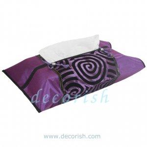 PURPLE / VIOLET Silk Kleenex Tissue box Cover with Violet&Cream Spiral