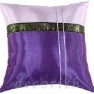 Silk Decorative Pillow Cover - VIOLET / PURPLE Elephants Design
