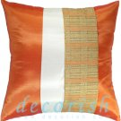 Silk Throw Decorative PILLOW COVERS - ORANGE & CREAM Double Stripe