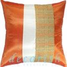 Silk Throw Decorative PILLOW COVERS - ORANGE & CREAM Double Stripe