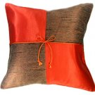 SILK THROW PILLOW CASE - BURNT ORANGE/GRAY Checker
