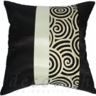 BLACK SILK THROW PILLOW COVERS with 2 Tone Spiral Middle Stripe Design