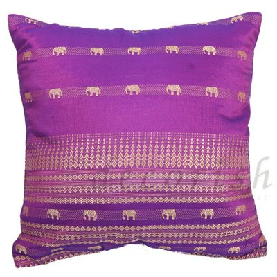 Purple Silk Throw Pillows : VIOLET / PURPLE Silk Throw Pillow Cases - Elephants Stripes