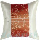 Silk Throw Pillow Covers - CREAM with ORANGE SPIRAL EMBROIDERED Middle Stripe