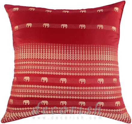 Red Silk Decorative Pillows : RED Silk Throw Decorative Pillow Covers - Elephants Golden Stripes