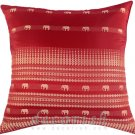 RED Silk Throw Decorative Pillow Covers - Elephants Golden Stripes