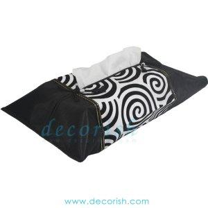 BLACK Silk Kleenex Tissue box Cover with Black&Cream Spiral