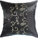 BLACK SILK DECORATIVE PILLOW COVERS w/ EMBROIDERED SPIRAL MIDDLE STRIPE