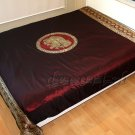 Silk Double Bed Queen Size Bedspread with Royal Elephant : Maroon