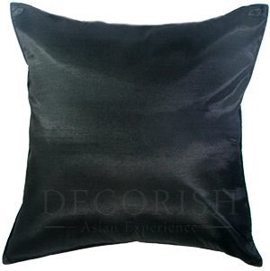 Black Silk Sofa Bed Throw Decorative Pillow Covers 16x16 inches