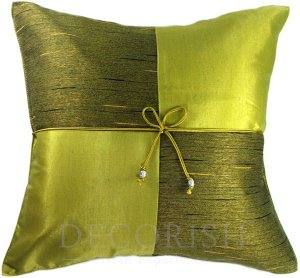 Lime Green Silk Sofa Bed Decorative Throw Pillow Covers - Checkered Design
