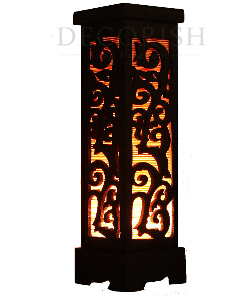 inch asian bamboo carved wood art electric lantern lights table lamp