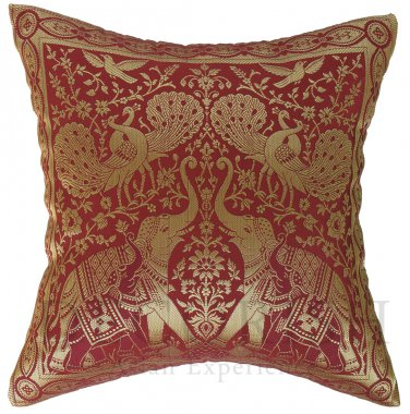 Traditional Indian Elephants Maroon & Gold Bed Throw Accent Pillow Cases 16x16