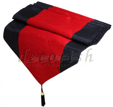 Black & Red Stripe Silk Decorative Table Runner / Bed Runner 14x90 inche