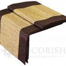 Brown & Cream Stripe Silk Satin Decorative Table Runner / Bed Runner 14 by 64 inche