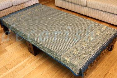 Thai Elephant Vintage SILK AQUA BLUE Table Cloth Cover Linen Rectangle 40x80 New