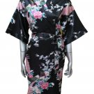 Women's Kimono Silk Satin Robe - Peacock & Blossom Design, Short Black