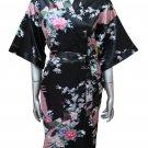 Women's Kimono Silk Satin Robe - Peacock & Blossom Design, Short Black