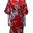 Women's Kimono Satin Bath Robe - Peacock & Blossom Design, Short Red
