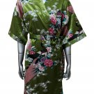 Women's Kimono Satin Bath Robe - Peacock & Blossom Design, Short Green