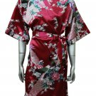 Women's Kimono Satin Bath Robe - Peacock & Blossom Design, Short Burgundy Maroon