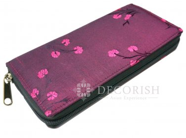 Thai Vintage Silk Chinese Floral Zipper Purse Wallet Women Long Fuchsia Pink Free Shipping