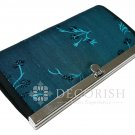 Thai Silk Vintage Floral Purse Wallet Clutch Women Handbag Long Blue Turquoise