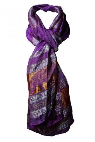 Women's Thai Elephants Silk Scarf - Purple Violet & Gold 20 x 64 inch