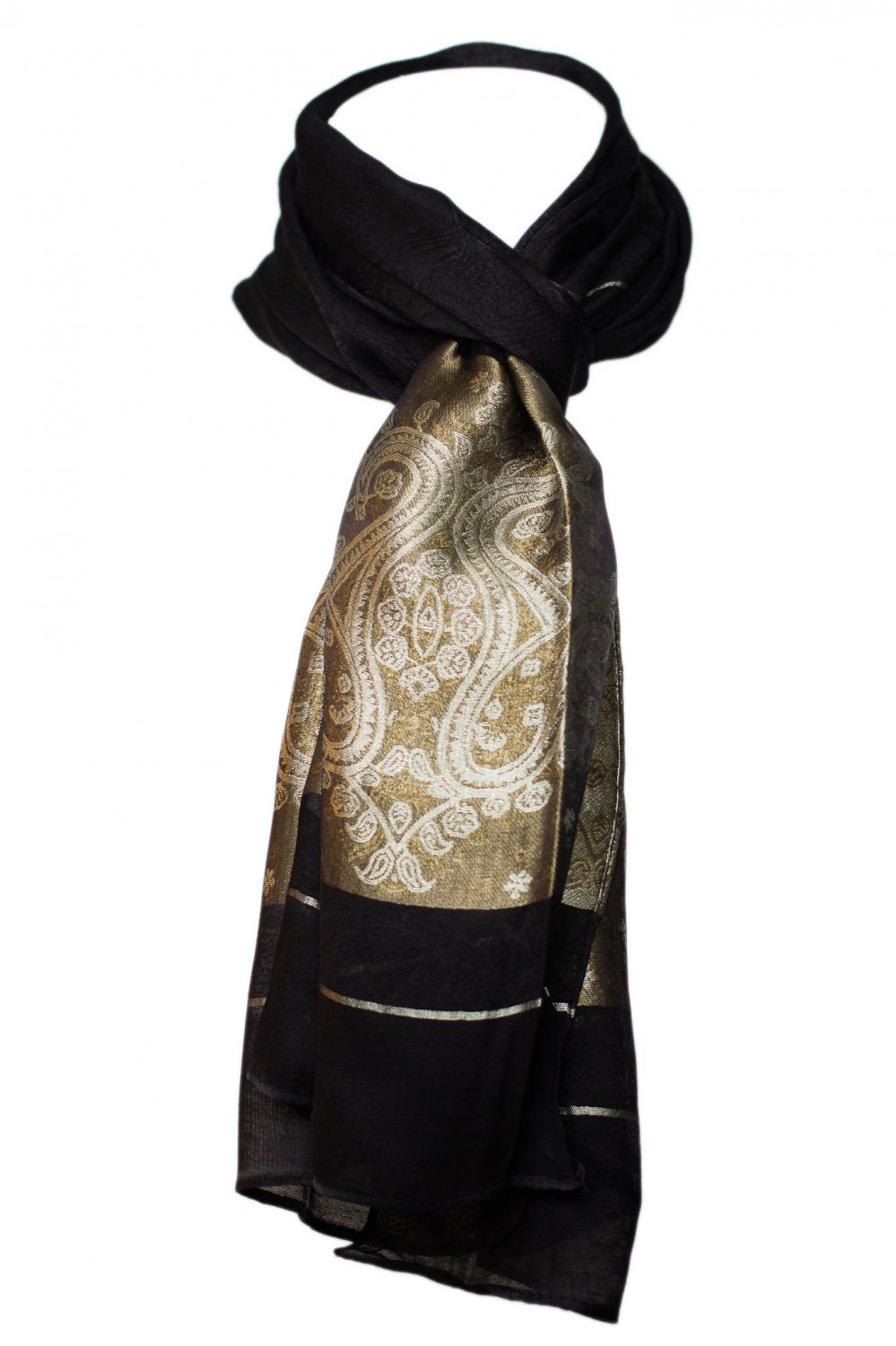 Women's Paisley Floral Silk Scarf - Black & Gold 20 x 64 inch