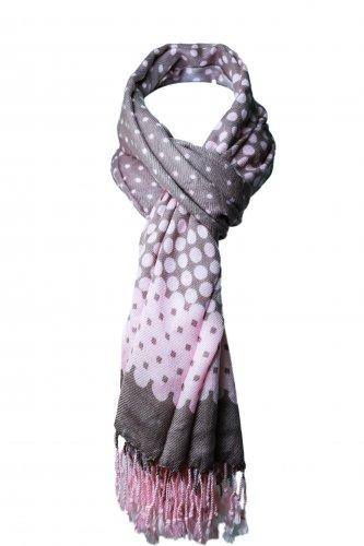 Women's Pink and Grey Polka Dot Pashmina Fashion Scarf Wrap 50 x 66 inch
