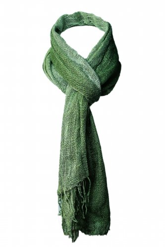 Hand Weaven Green Thai Silk Wrap Scarf for Women 44 x 60 inch, Gift Idea