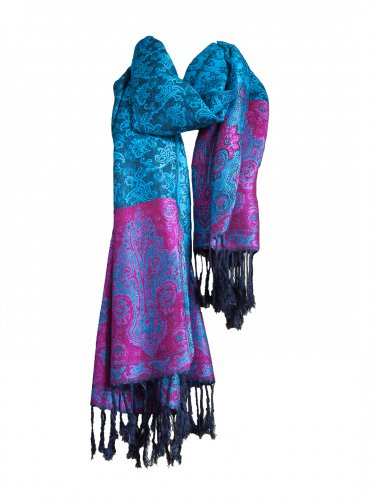 Women's Blue & Pink Pashmina Fashion Wrap Scarfs for women with Flowers 26x64 inch